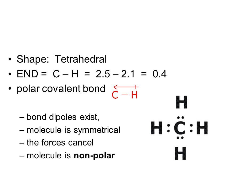 Shape: Tetrahedral END = C – H = 2.5 – 2.1 = 0.4 polar covalent bond –bond dipoles exist, –molecule is symmetrical –the forces cancel –molecule is non-polar