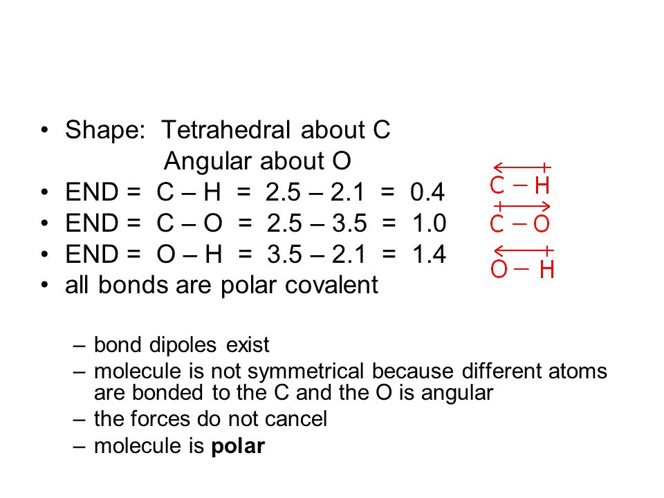 Shape: Tetrahedral about C Angular about O END = C – H = 2.5 – 2.1 = 0.4 END = C – O = 2.5 – 3.5 = 1.0 END = O – H = 3.5 – 2.1 = 1.4 all bonds are polar covalent –bond dipoles exist –molecule is not symmetrical because different atoms are bonded to the C and the O is angular –the forces do not cancel –molecule is polar