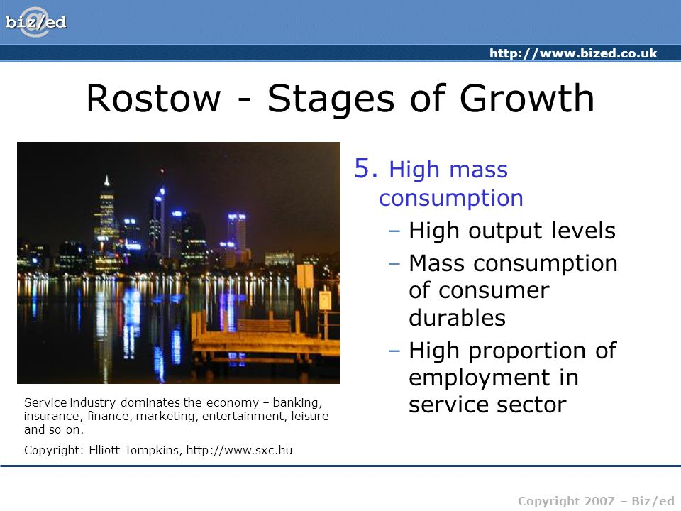 http://www.bized.co.uk Copyright 2007 – Biz/ed Rostow - Stages of Growth 5. High mass consumption –High output levels –Mass consumption of consumer du