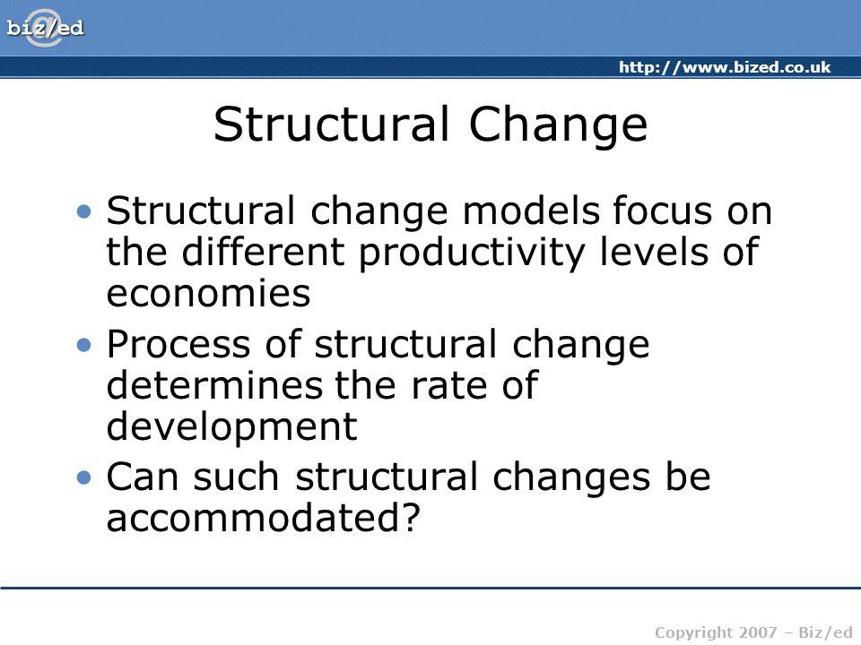 http://www.bized.co.uk Copyright 2007 – Biz/ed Structural Change Structural change models focus on the different productivity levels of economies Proc