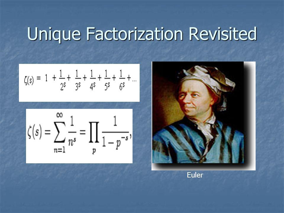 Unique Factorization Revisited Euler