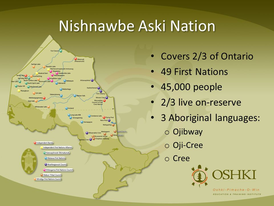 Nishnawbe Aski Nation Covers 2/3 of Ontario 49 First Nations 45,000 people 2/3 live on-reserve 3 Aboriginal languages: o Ojibway o Oji-Cree o Cree