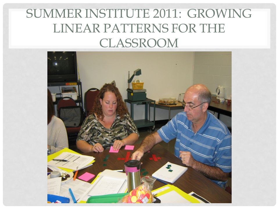SUMMER INSTITUTE 2011: GROWING LINEAR PATTERNS FOR THE CLASSROOM