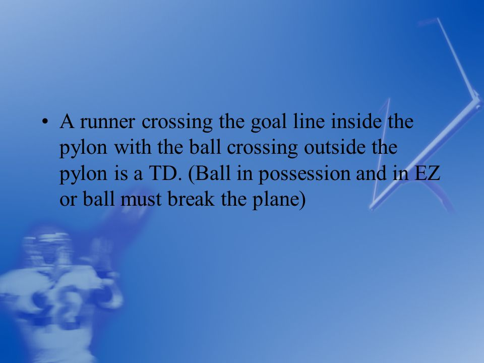 A runner crossing the goal line inside the pylon with the ball crossing outside the pylon is a TD.