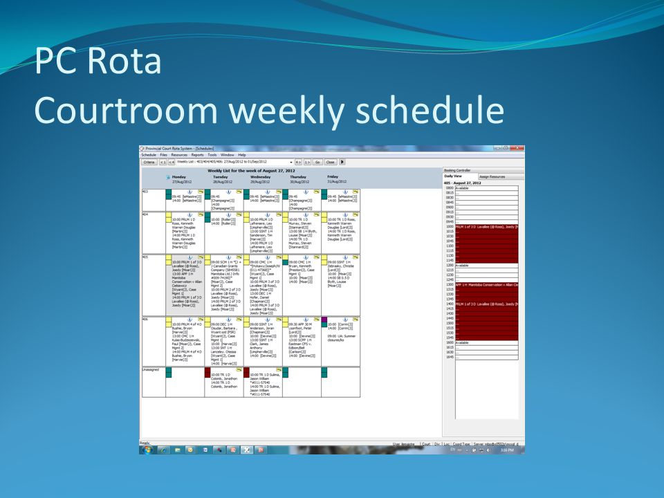 PC Rota Courtroom weekly schedule