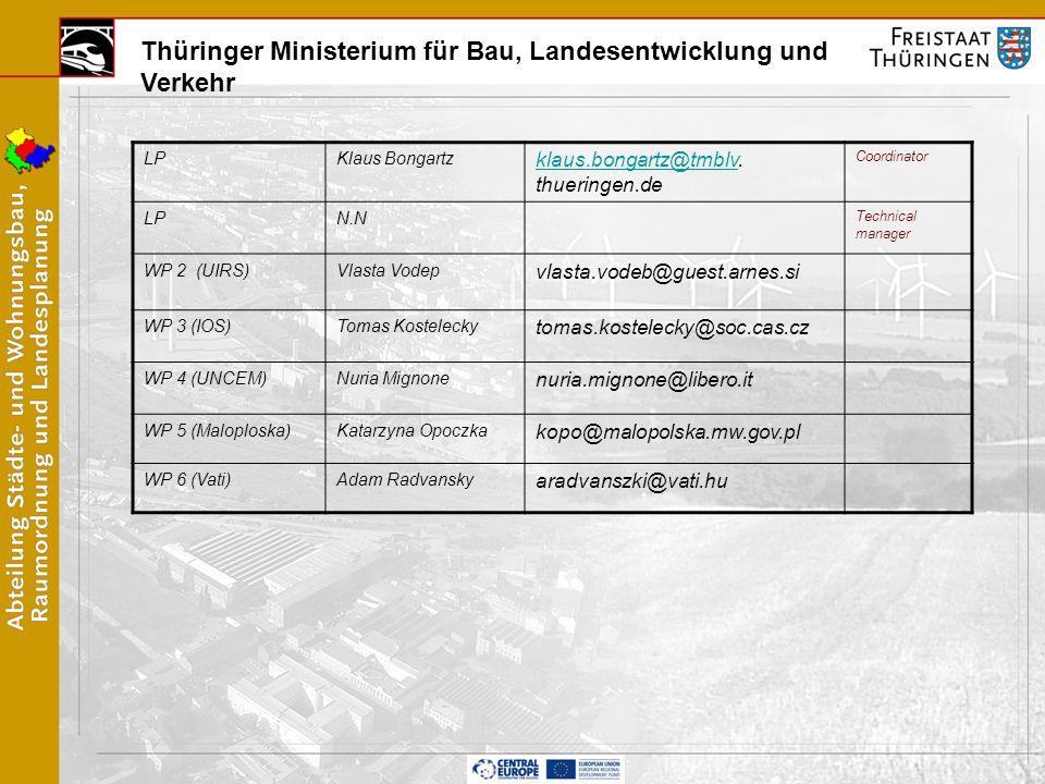 Thüringer Ministerium für Bau, Landesentwicklung und Verkehr LPKlaus Bongartz klaus.bongartz@tmblvklaus.bongartz@tmblv.