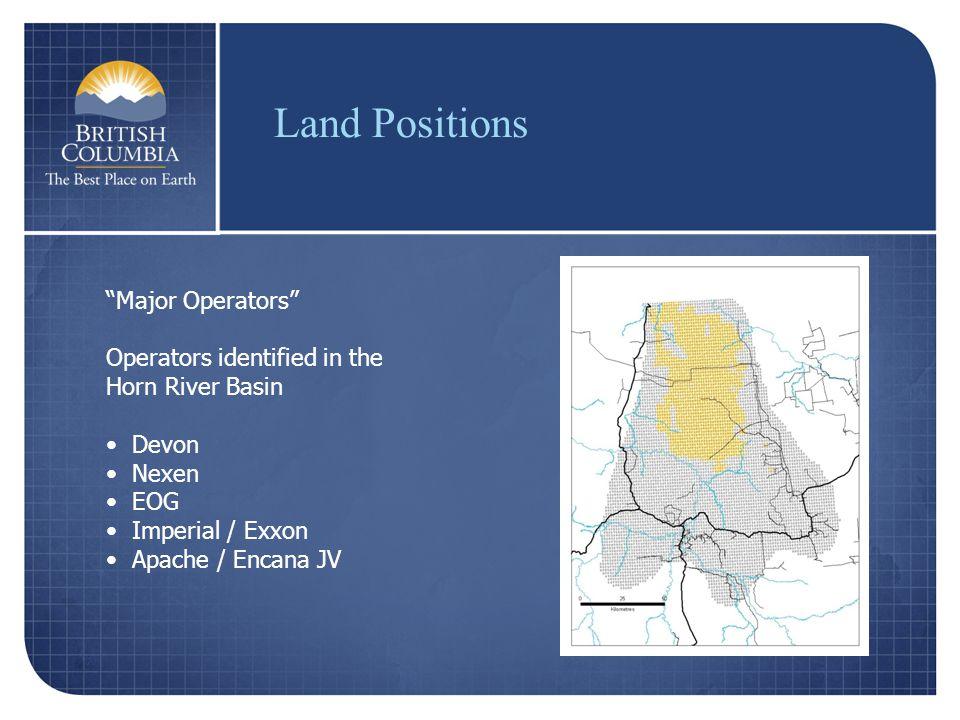 Major Operators Operators identified in the Horn River Basin Devon Nexen EOG Imperial / Exxon Apache / Encana JV Land Positions