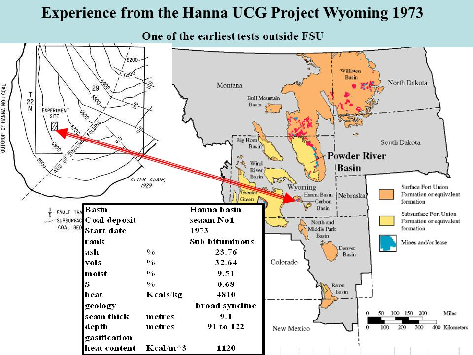 Experience from the Hanna UCG Project Wyoming 1973 One of the earliest tests outside FSU