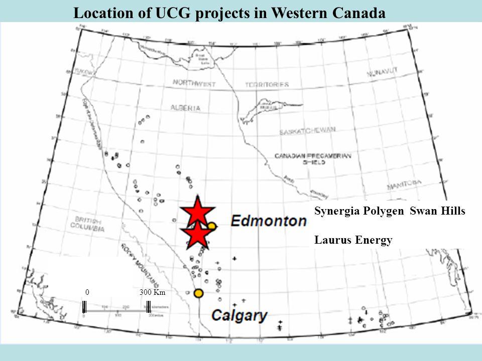 Synergia Polygen Swan Hills Laurus Energy 0 300 Km Location of UCG projects in Western Canada