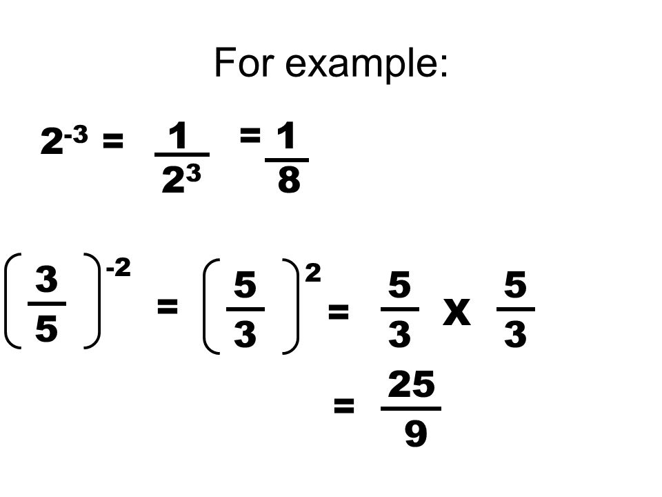 For example: 2 -3 = 1 2323 = 1 8 3 5 -2 = 5 3 2 5 3 = 5 3 X = 25 9