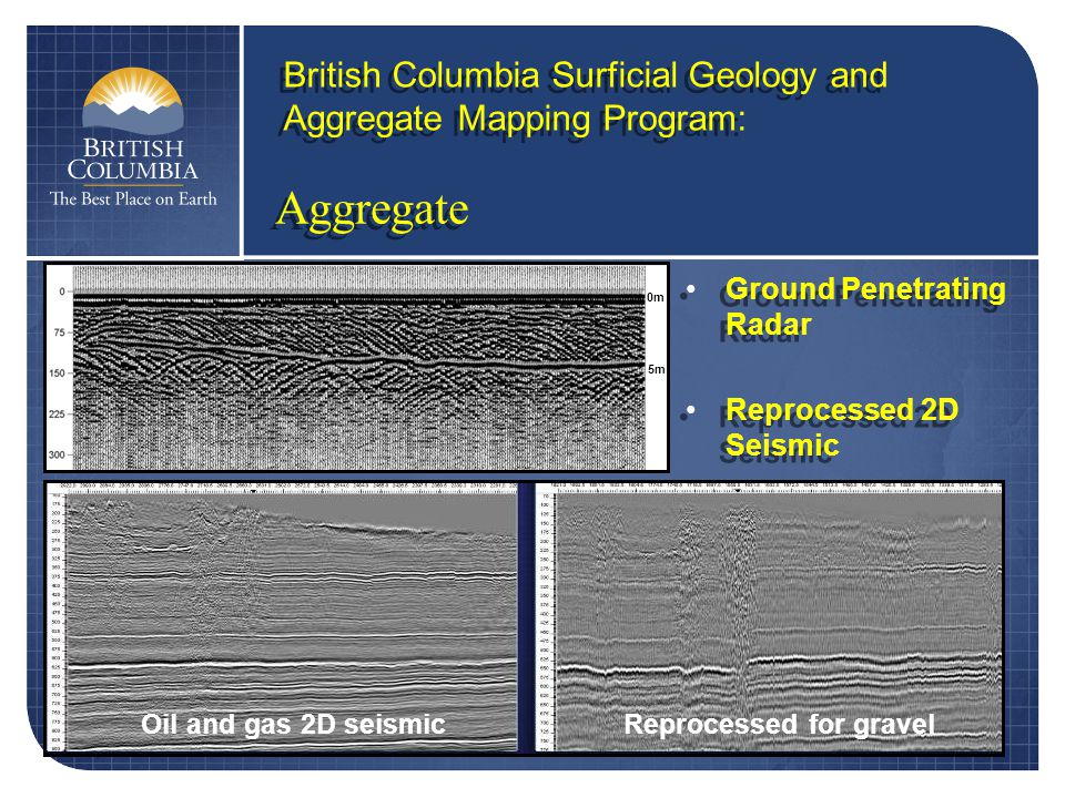 Aggregate British Columbia Surficial Geology and Aggregate Mapping Program: Ground Penetrating Radar Reprocessed 2D Seismic Ground Penetrating Radar Reprocessed 2D Seismic Oil and gas 2D seismicReprocessed for gravel 5m 0m