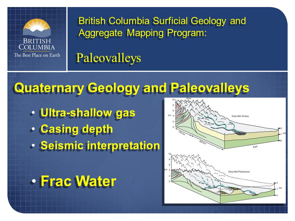 Paleovalleys British Columbia Surficial Geology and Aggregate Mapping Program: Quaternary Geology and Paleovalleys Ultra-shallow gas Casing depth Seismic interpretation Frac Water Quaternary Geology and Paleovalleys Ultra-shallow gas Casing depth Seismic interpretation Frac Water