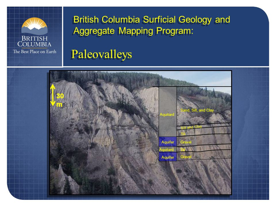 Sand, Silt, and Clay Silt and Clay Till Gravel Till Gravel Aquitard Aquifer 30 m Paleovalleys British Columbia Surficial Geology and Aggregate Mapping Program: