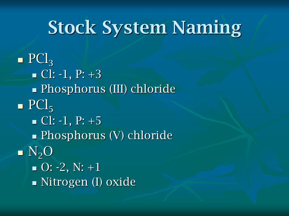 Stock System Naming PCl 3 PCl 3 Cl: -1, P: +3 Cl: -1, P: +3 Phosphorus (III) chloride Phosphorus (III) chloride PCl 5 PCl 5 Cl: -1, P: +5 Cl: -1, P: +5 Phosphorus (V) chloride Phosphorus (V) chloride N 2 O N 2 O O: -2, N: +1 O: -2, N: +1 Nitrogen (I) oxide Nitrogen (I) oxide