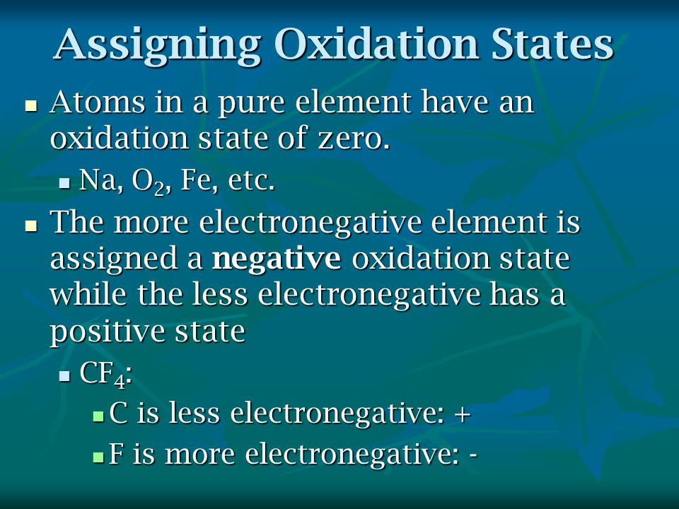 Assigning Oxidation States Atoms in a pure element have an oxidation state of zero.