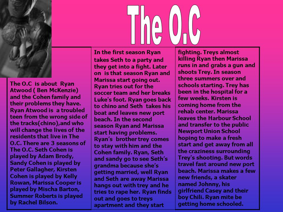 The O.C is about Ryan Atwood ( Ben McKenzie) and the Cohen family and their problems they have.