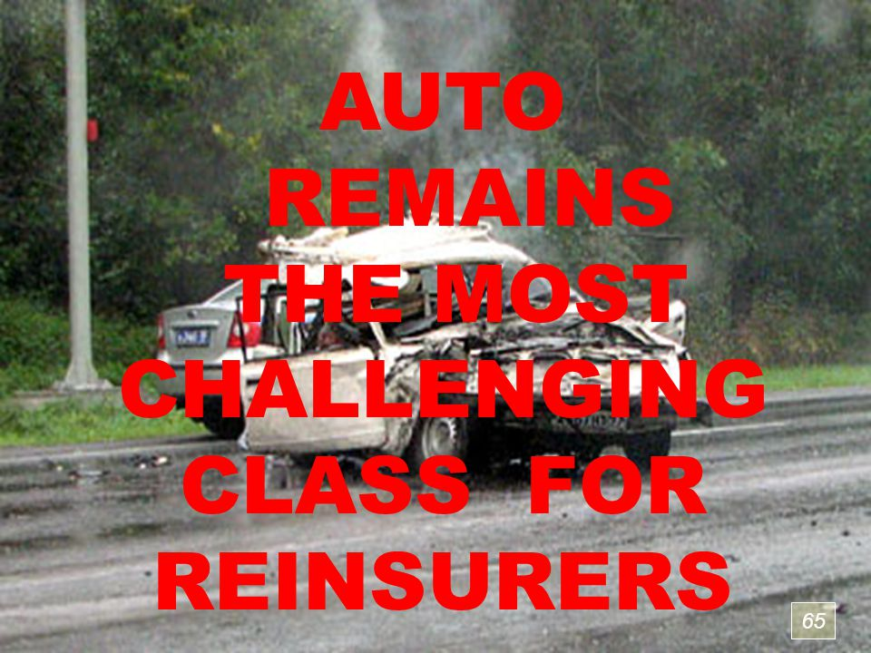 65 AUTO REMAINS THE MOST CHALLENGING CLASS FOR REINSURERS 65