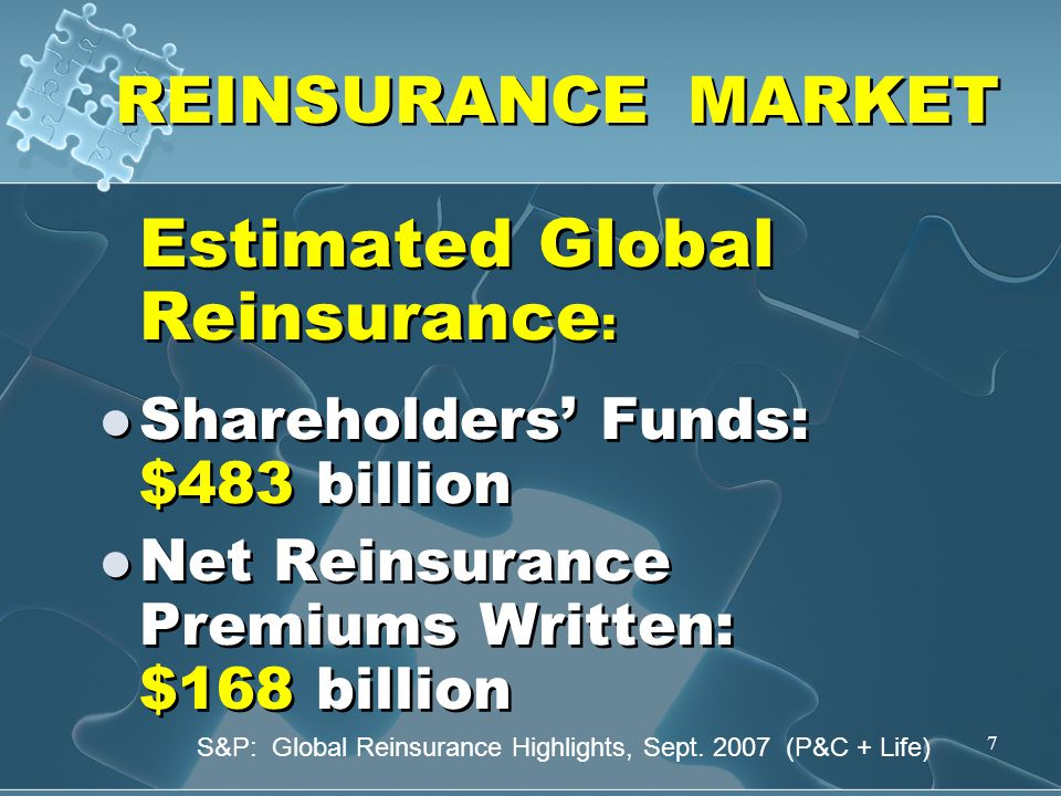 7 REINSURANCE MARKET Estimated Global Reinsurance : Shareholders' Funds: $483 billion Net Reinsurance Premiums Written: $168 billion Estimated Global Reinsurance : Shareholders' Funds: $483 billion Net Reinsurance Premiums Written: $168 billion S&P: Global Reinsurance Highlights, Sept.
