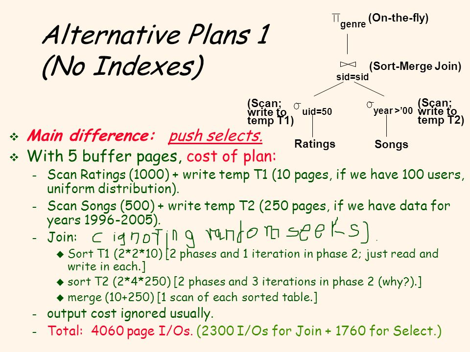 Alternative Plans 1 (No Indexes) v Main difference: push selects.