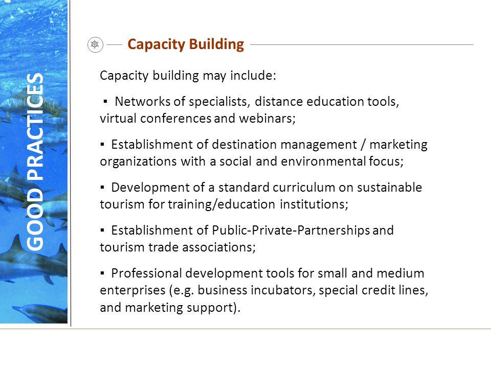Capacity Building Capacity building may include: ▪ Networks of specialists, distance education tools, virtual conferences and webinars; ▪ Establishmen