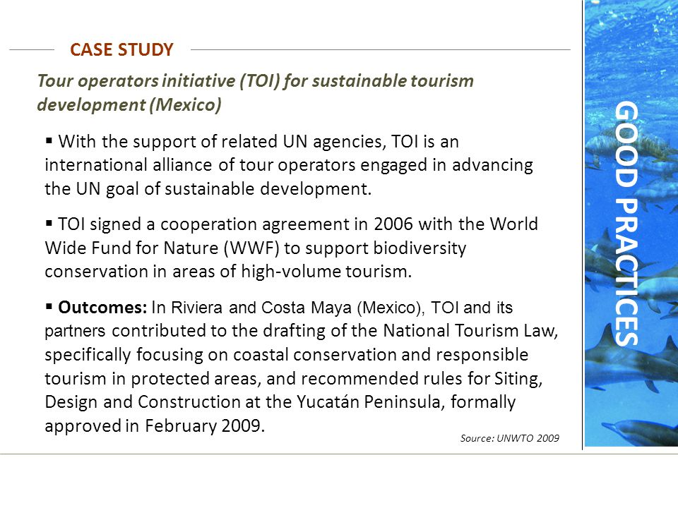 Tour operators initiative (TOI) for sustainable tourism development (Mexico)  With the support of related UN agencies, TOI is an international allian
