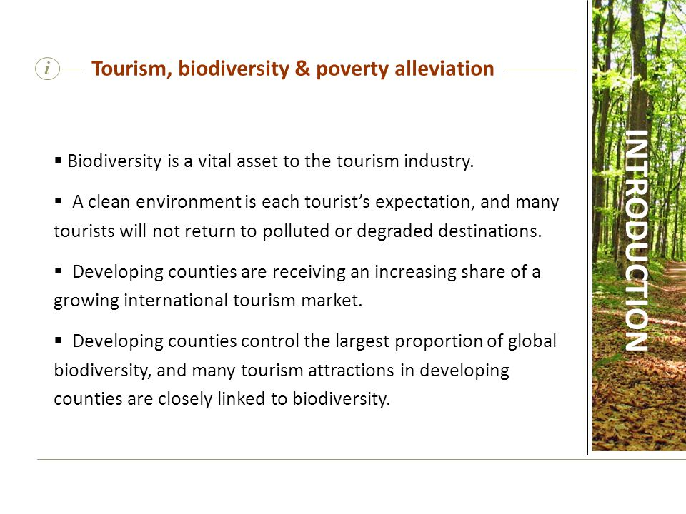 i Tourism, biodiversity and poverty alleviation  Developing countries are receiving an increasing share of a growing international tourism market.