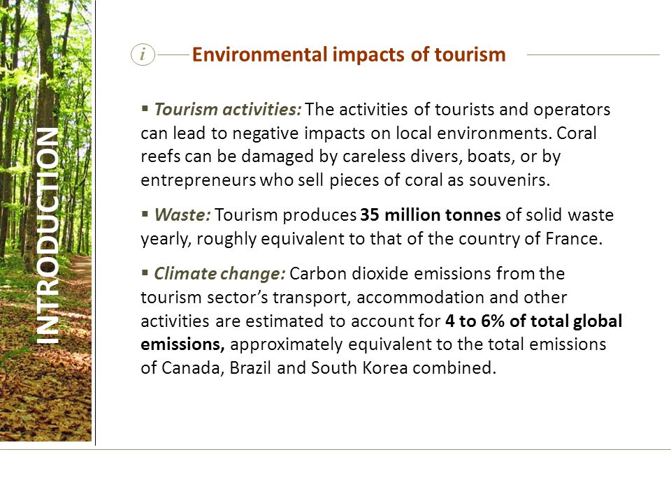 i Positive impacts of tourism Sustainable tourism can also result in positive impacts for biodiversity conservation, while also delivering social and economic benefits to host communities.