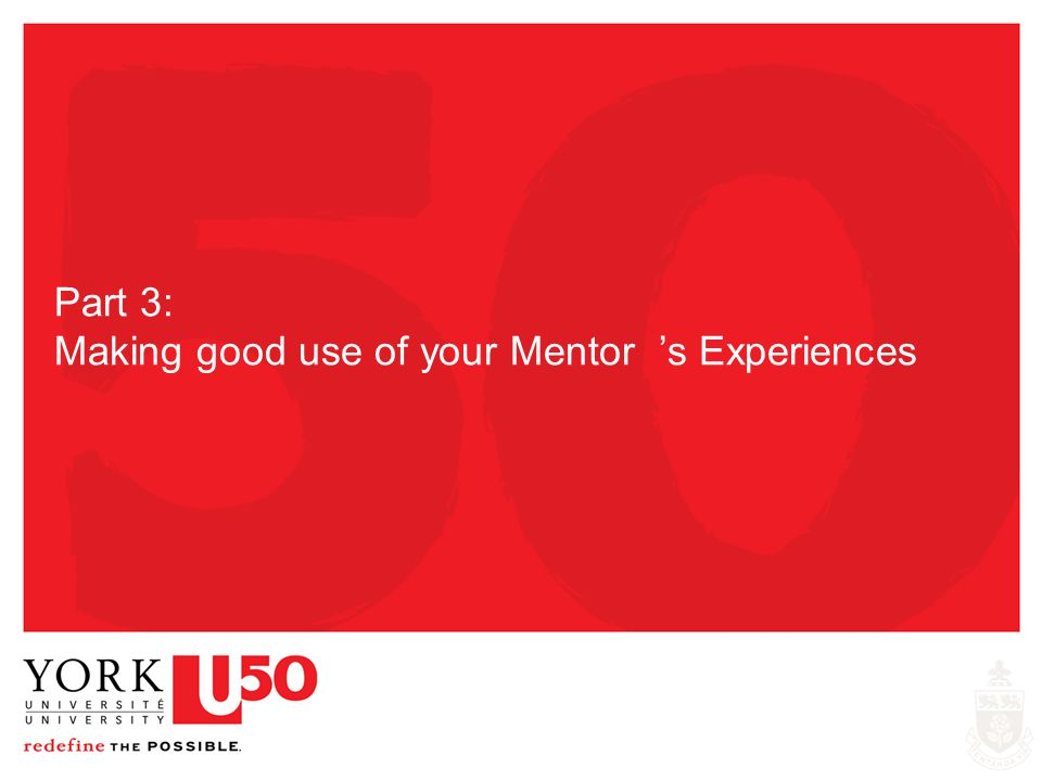 Part 3: Making good use of your Mentor 's Experiences