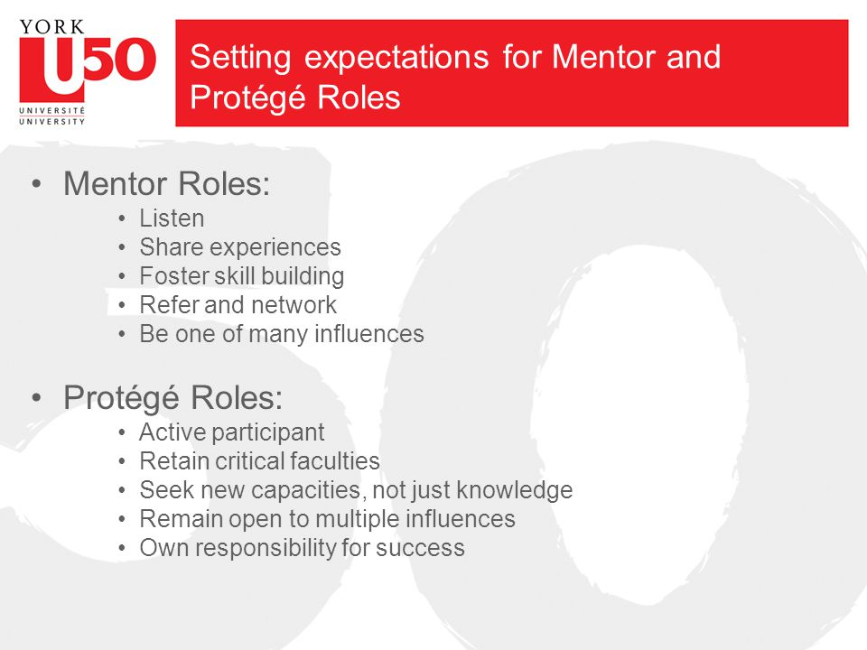 Setting expectations for Mentor and Protégé Roles Mentor Roles: Listen Share experiences Foster skill building Refer and network Be one of many influe