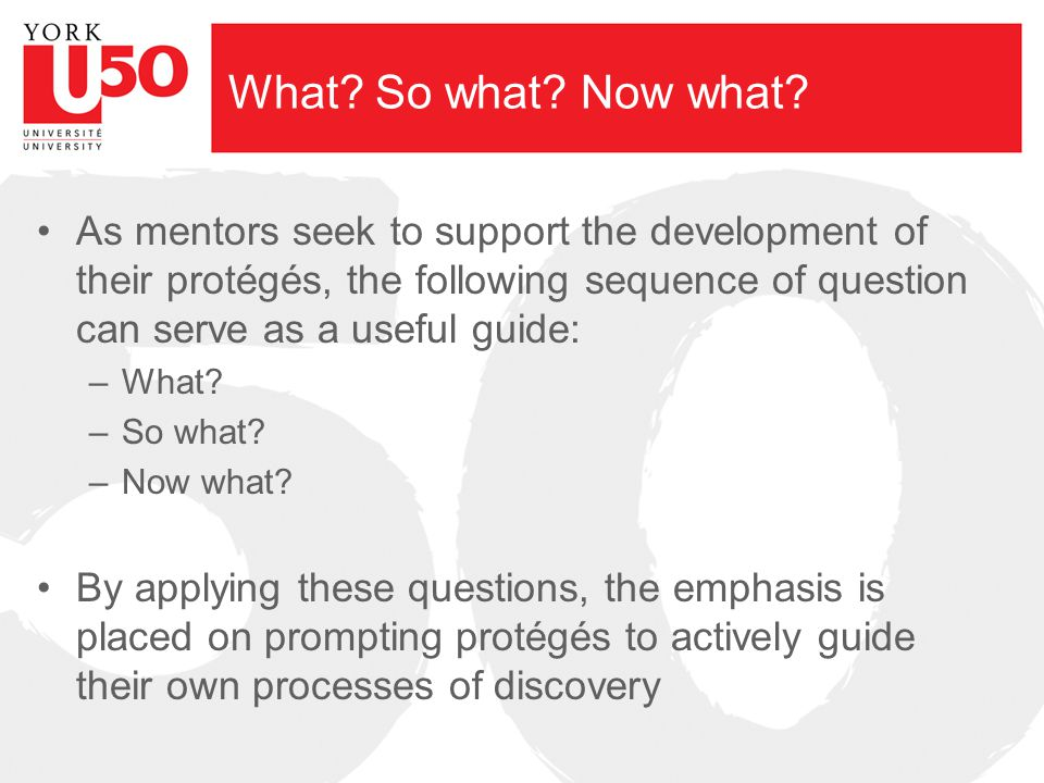 What? So what? Now what? As mentors seek to support the development of their protégés, the following sequence of question can serve as a useful guide: