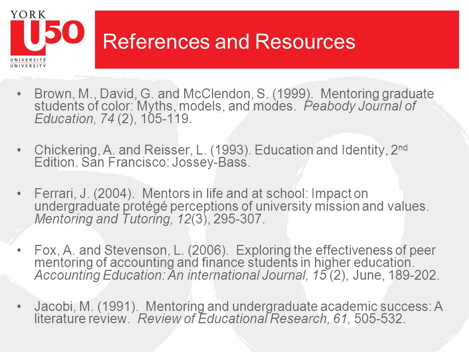 References and Resources Brown, M., David, G. and McClendon, S.