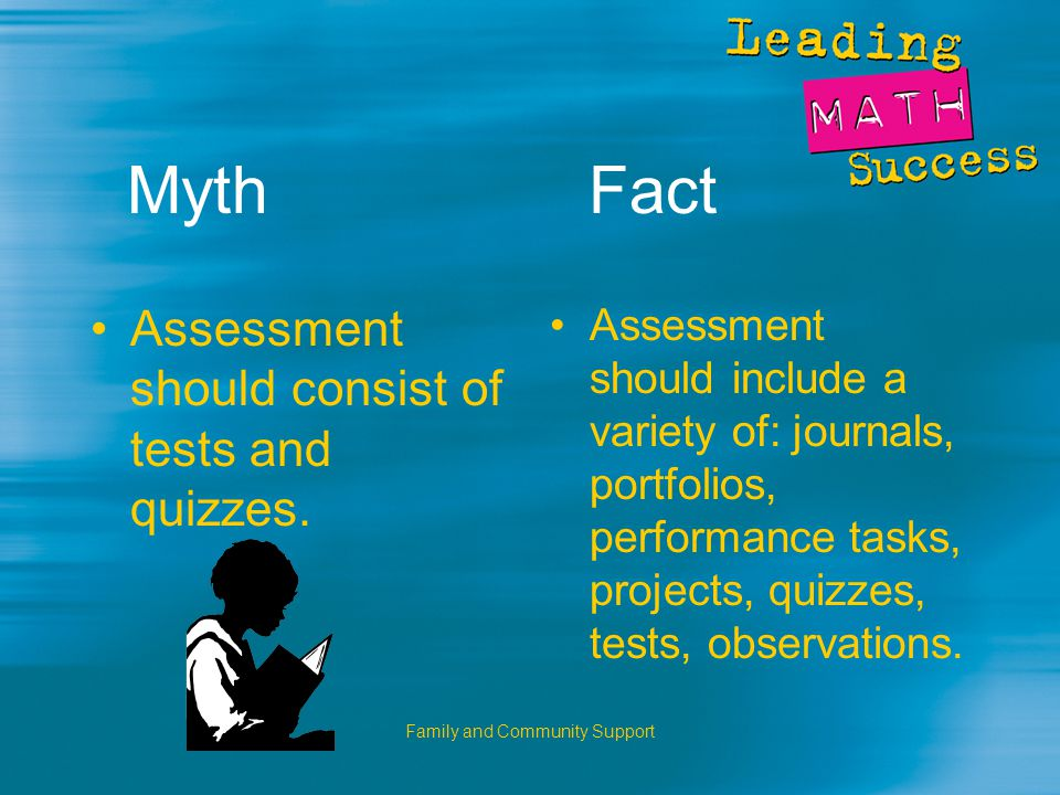 Family and Community Support Myth Fact Assessment should consist of tests and quizzes.