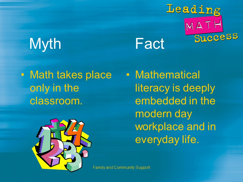 Family and Community Support Myth Fact Math takes place only in the classroom.