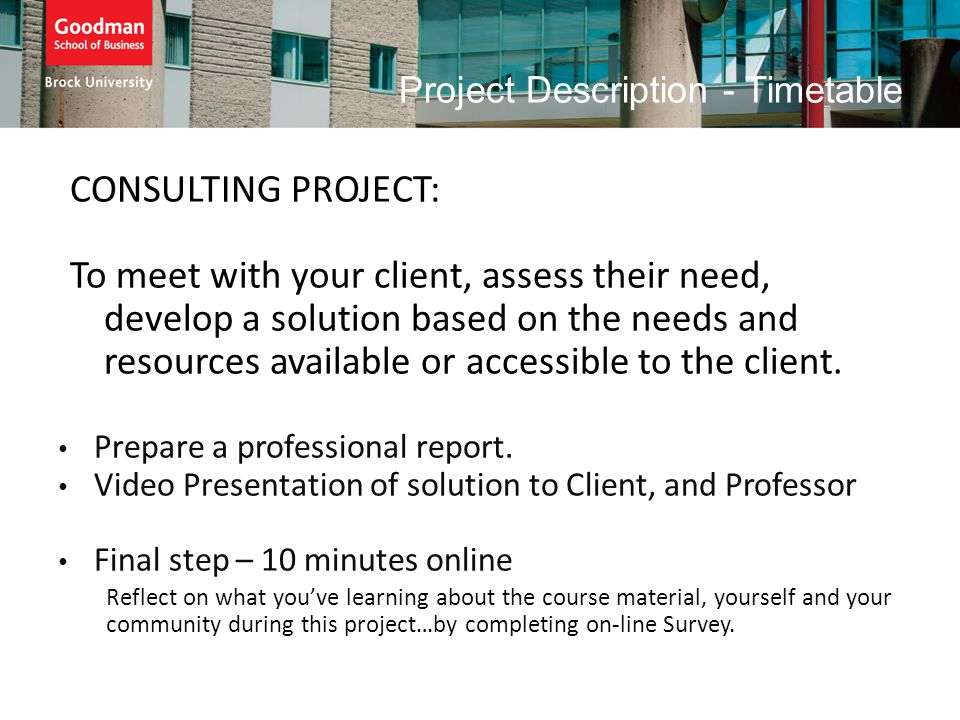 Project Description - Timetable CONSULTING PROJECT: To meet with your client, assess their need, develop a solution based on the needs and resources a