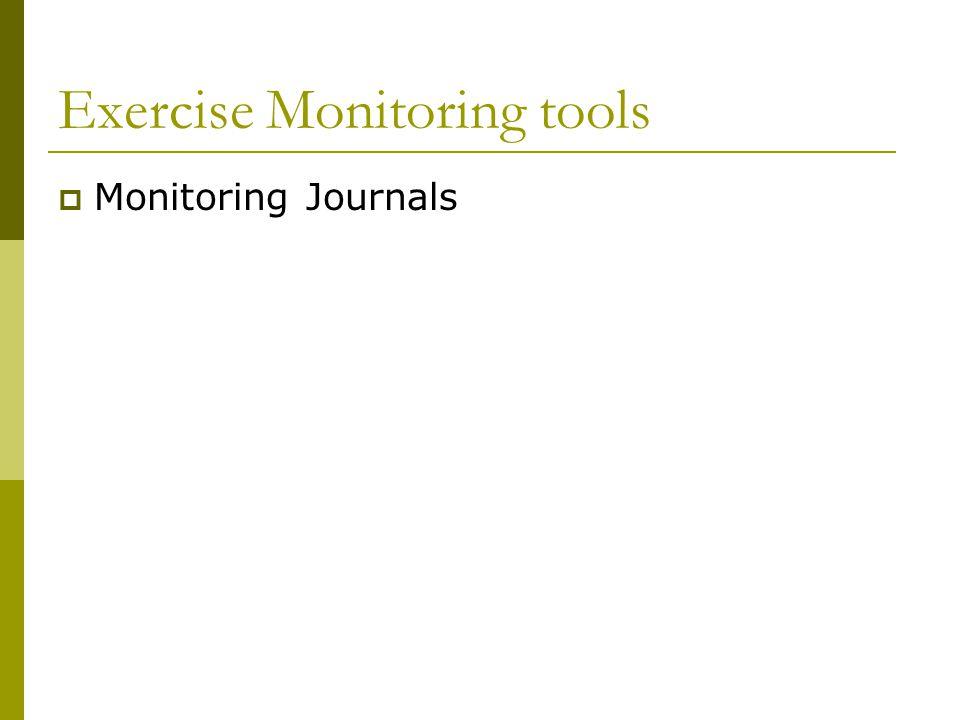 Exercise Monitoring tools  Monitoring Journals
