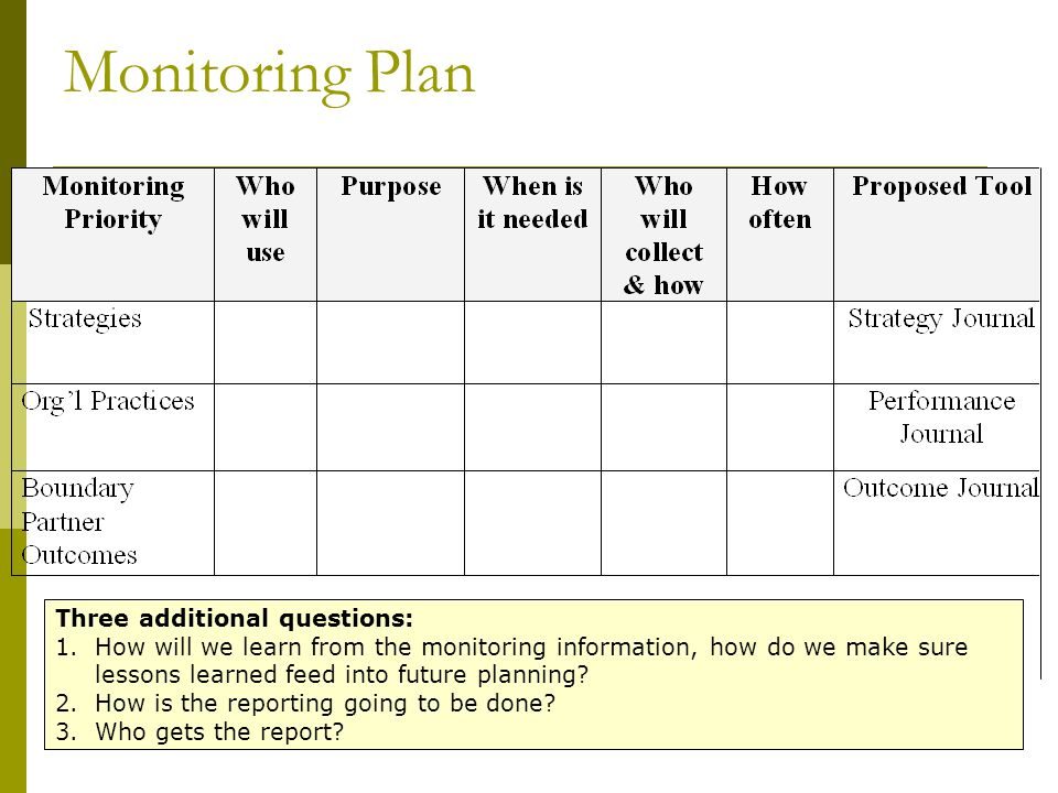 Monitoring Plan Three additional questions: 1.How will we learn from the monitoring information, how do we make sure lessons learned feed into future planning.