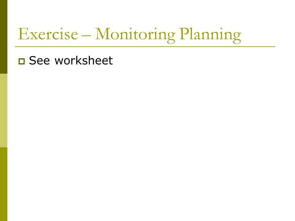 Exercise – Monitoring Planning  See worksheet
