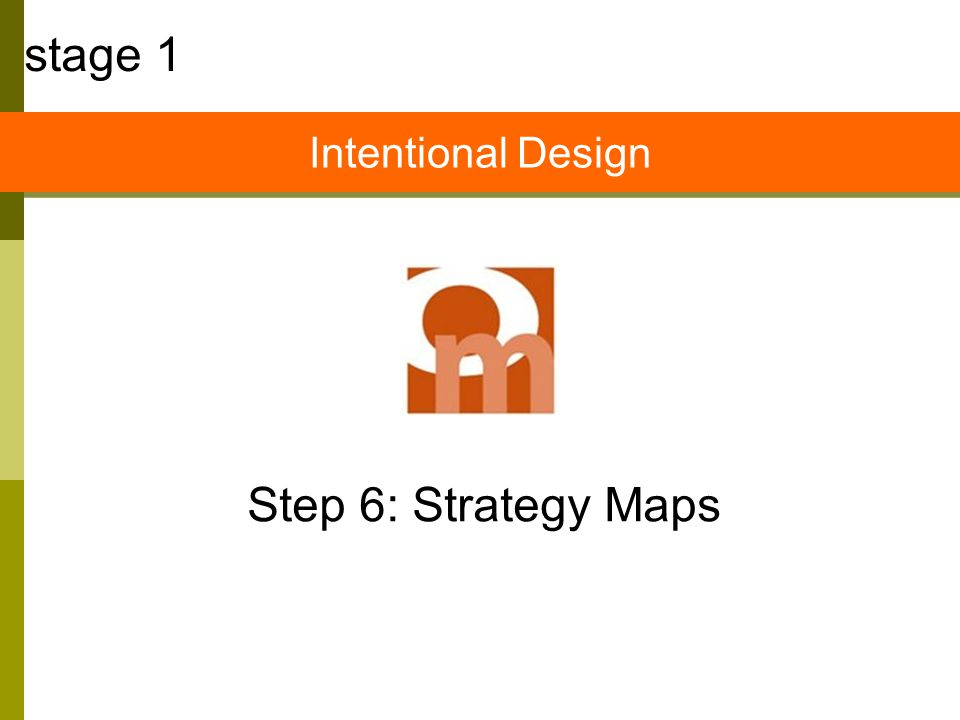 Step 6: Strategy Maps stage 1 Intentional Design