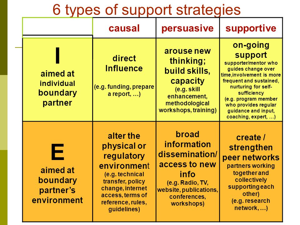 6 types of support strategies causalpersuasivesupportive I aimed at individual boundary partner direct Influence (e.g.