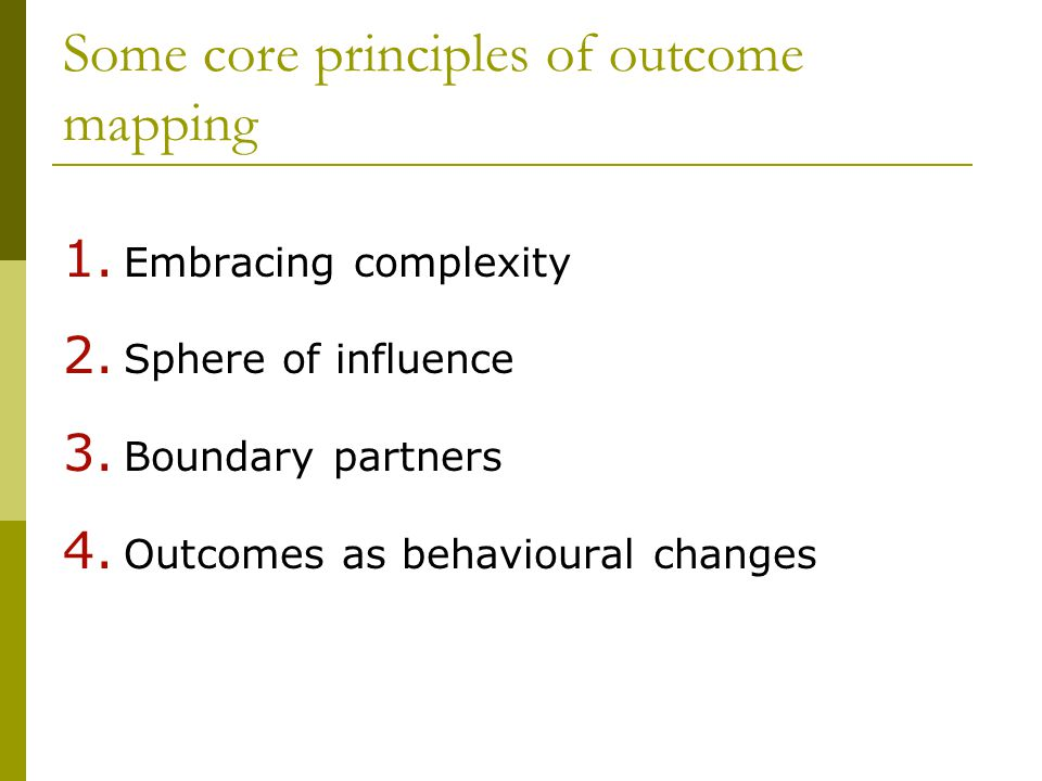 Some core principles of outcome mapping 1. Embracing complexity 2.