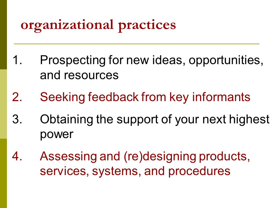 organizational practices 1.Prospecting for new ideas, opportunities, and resources 2.Seeking feedback from key informants 3.Obtaining the support of your next highest power 4.Assessing and (re)designing products, services, systems, and procedures