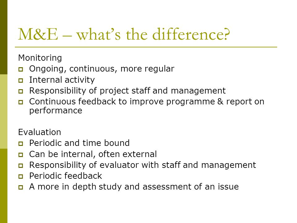 M&E – what's the difference.