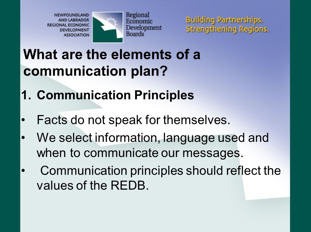 What are the elements of a communication plan? 1.Communication Principles Facts do not speak for themselves. We select information, language used and