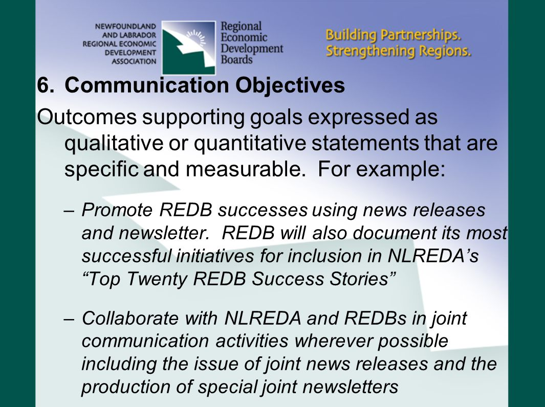 6.Communication Objectives Outcomes supporting goals expressed as qualitative or quantitative statements that are specific and measurable. For example