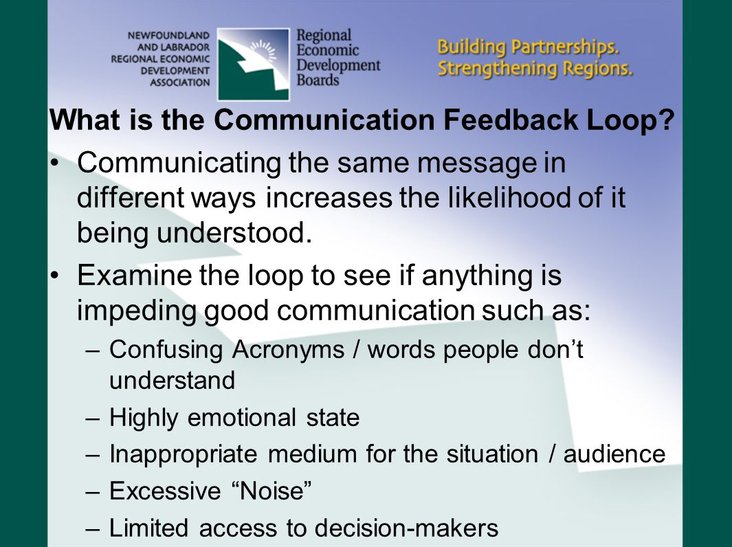 What is the Communication Feedback Loop? Communicating the same message in different ways increases the likelihood of it being understood. Examine the
