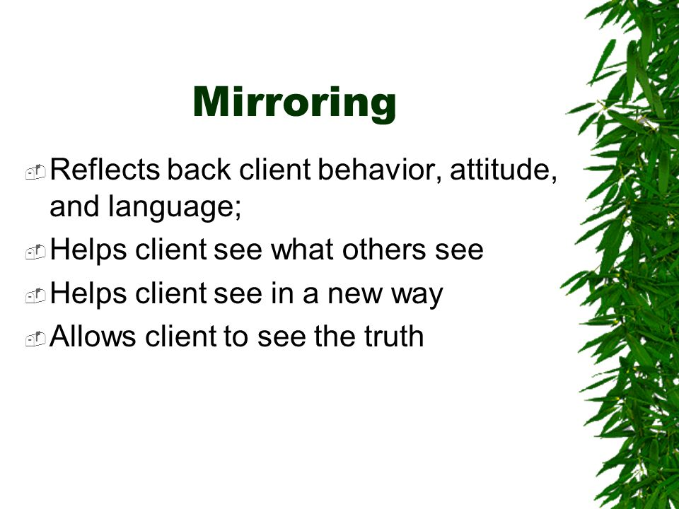 Mirroring  Reflects back client behavior, attitude, and language;  Helps client see what others see  Helps client see in a new way  Allows client to see the truth