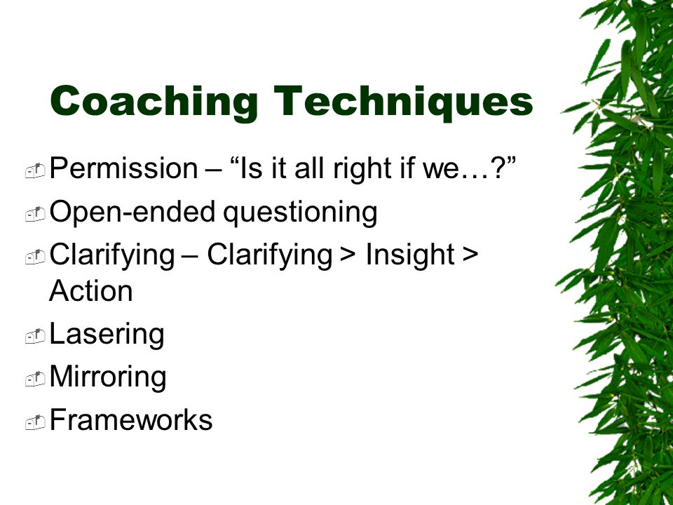 Coaching Techniques  Permission – Is it all right if we…?  Open-ended questioning  Clarifying – Clarifying > Insight > Action  Lasering  Mirroring  Frameworks
