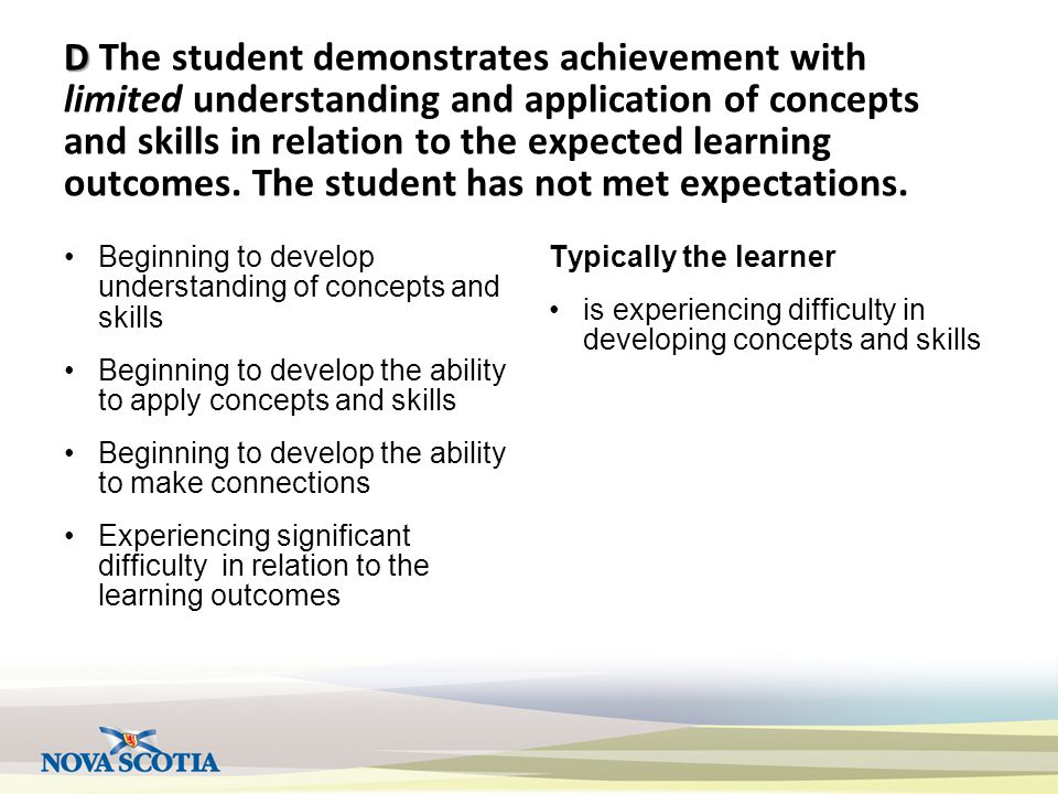 D D The student demonstrates achievement with limited understanding and application of concepts and skills in relation to the expected learning outcom