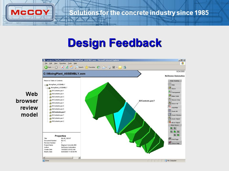 Solutions for the concrete industry since Design Feedback Web browser review model