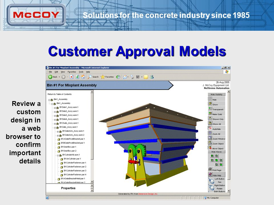 Solutions for the concrete industry since Customer Approval Models Review a custom design in a web browser to confirm important details